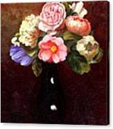 Red Roses In A Black Vase Canvas Print