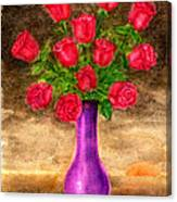 Red Roses In A Purple Vase Canvas Print