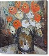 Red Roses In A Vase Canvas Print