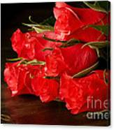 Red Roses On Wood Floor Canvas Print