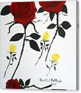 Red Roses Yellow Buds Canvas Print