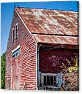 Red Rustic Weathered Barn Canvas Print