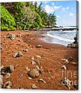 Red Sand Seclusion - The Exotic And Stunning Red Sand Beach On Maui Canvas Print