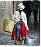 Red Skirted Woman Of Cuenca Canvas Print
