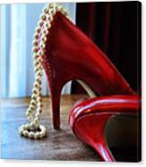Red Shoes And Pearls Canvas Print