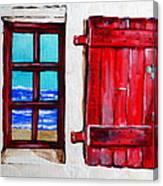 Red Shutter Ocean Canvas Print