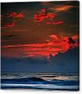Red Sky Over Ocean Canvas Print