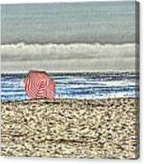 Red Striped Umbrella At The Beach Canvas Print
