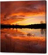 Red Sunset Over Massabesic Lake Canvas Print
