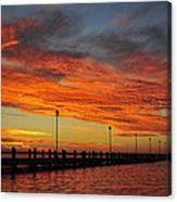 Red Sunset Pier Seaside Nj Canvas Print