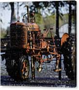 Red Tractor Fountain Canvas Print
