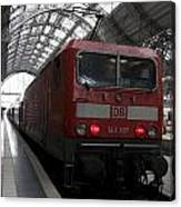 Red Train To The Main Train Station In Frankfurt Am Main Germany Canvas Print