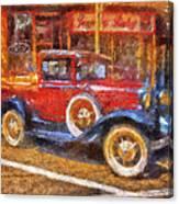 Red Truck Photo Art Canvas Print
