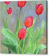 Red Tulips Colorful Painting Of Flowers By K. Joann Russell Canvas Print
