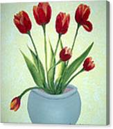 Red Tulips In A Pot Canvas Print