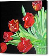 Red Tulips In Vase Canvas Print