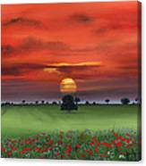 Red Tuscan Sunrise With Poppy Field Canvas Print