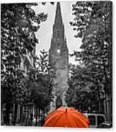 Red Under Rain Canvas Print