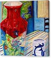 Red Vase And Cup Canvas Print