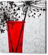 Red Vase With Dried Flowers Canvas Print