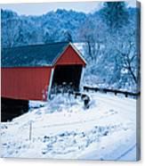 Red Vermont Covered Bridge Canvas Print