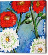 Red White And Blue Flowers Canvas Print
