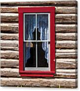 Red Window Log Cabin - Idaho Canvas Print