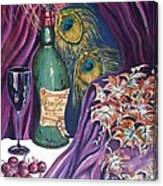 Red Wine And Peacock Feathers Canvas Print