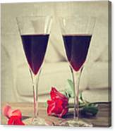 Red Wine And Roses Canvas Print