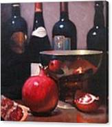 Red Wine With Pomegranates Canvas Print