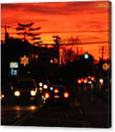 Red Winter Sunset Over Long Island Suburbs Canvas Print