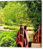 Red Wooden Bridge Canvas Print
