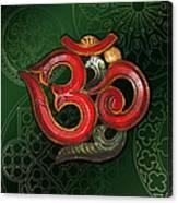 Red Wooden Om Green Mandala Canvas Print