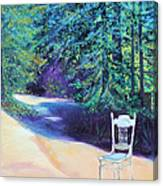 Redwood Path And White Chair Canvas Print