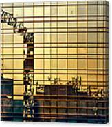 Reflected Cranes At Sunset Canvas Print