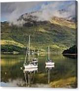 Reflected Yachts In Loch Leven Canvas Print