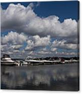 Reflecting On Boats And Clouds - Port Perry Marina Canvas Print