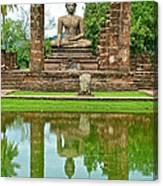 Reflecting Pool At Wat Mahathat In 13th Century Sukhothai Historical Park-thailand Canvas Print