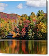 Reflection Of Autumn Trees In A Pond Canvas Print