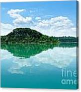 Reflection Of Isola Maggiore And Minore And Summer Sky  In Still Canvas Print