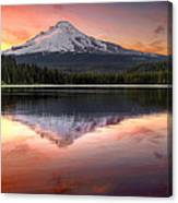 Reflection Of Mount Hood On Trillium Lake At Sunset Canvas Print