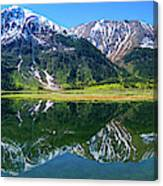 Reflection Of Mountains In Tern Lake Canvas Print