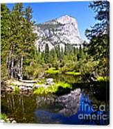 Reflection Of Mt Watkins In Mirror Lake Located In Yosemite National Park Canvas Print