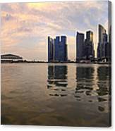 Reflection Of Singapore Skyline Panorama Canvas Print