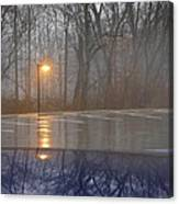 Reflections Of A Lamp On The Edge Of A Foggy Forest Canvas Print