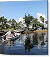 Reflection's Of A Lone Fisherman Canvas Print