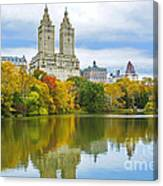 Reflections Of Autumn Central Park Lake  Canvas Print