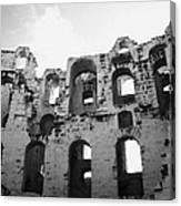 Remains Of Tiered Arches Of The Old Roman Colloseum At El Jem Tunisia Canvas Print