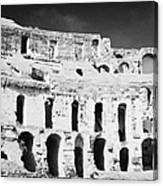 Remains Of Upper Tiers Looking Up From The Arena Floor Of The Old Roman Colloseum At El Jem Tunisia Canvas Print