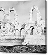 Remains Of Upper Tiers Of The Old Roman Colloseum At El Jem Tunisia Canvas Print
